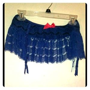 Navy blue lace see through half skirt